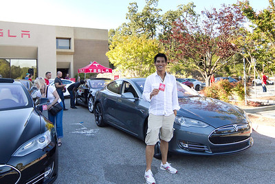 John and his backseat pass at the Model S Get Amped Tour in Palo Alto.